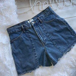 Zara Woman Distressed Denim Jeans Shorts Sz 8